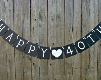 Happy 40th Banner, Happy Birthday, 40th Birthday, Birthday Banner, Sign, Party Decoration, Birthday Party, Custom Banner