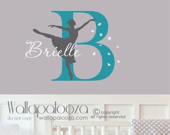 Ballerina wall decal - Ballet wall decal - Nursery wall decal - Girls name wall decal - Custom name wall decal - Dance wall decal - Ballet