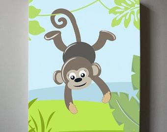 Monkey canvas art - Baby Boy Nursery Wall art - Monkey Jungle Wall Decor for Boy's Room Decor