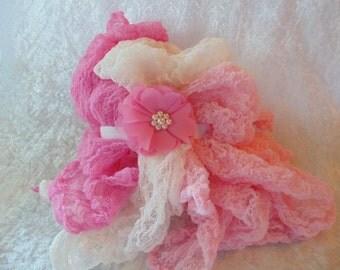 Set of Three Newborn Wraps ..Chiffon  Ballerina Headband.  Photo Prop. Baby Photos.Photography Cheesecloth