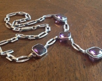 Art Deco Rhodium Filigree Glass Necklace 30s Chromium in Purple