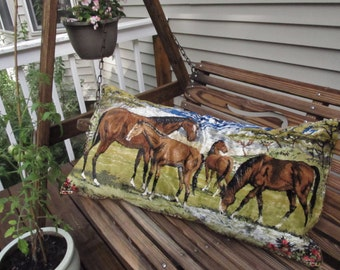 Beautiful Handmade Throw Pillow- Made from Vintage Italian Wall Hangings- Herd of Horses