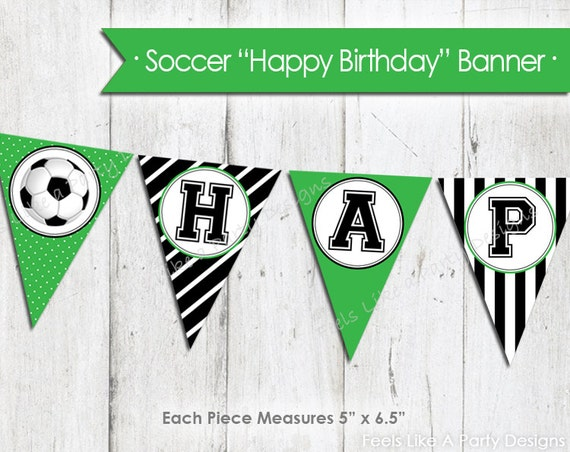 green soccer happy birthday banner instant download