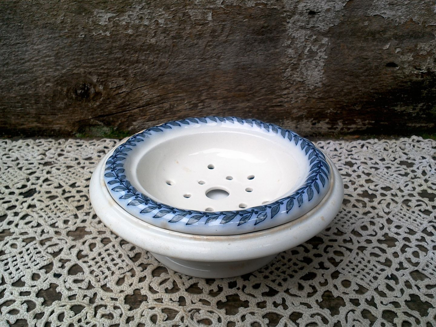Vintage ironstone butter dish