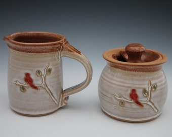 Creamer and Sugar Bowl Set with Red Bird Cardinal Pottery Handmade