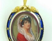 18k Yellow Gold & Diamond Signed Miniature Hand Painted Portrait Brooch or Pendant