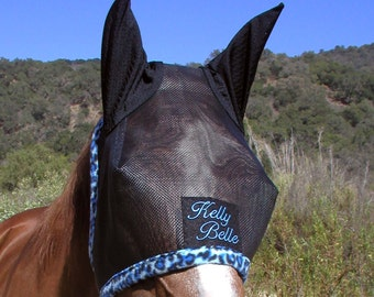 Custom Made Embroidered HORSE FLY MASK with ears by BobbiGee's