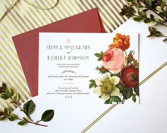 Modern Botanical Wedding Invitation Cards, 5x7 inches, Pink Marsala & Peach Wedding Bouquet