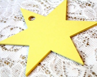 Star Die Cuts, Yellow Star, 6 Point Star, Favor Tags, Wedding Favor Tags, Gift Tag, Christmas Tag, Scrapbooking