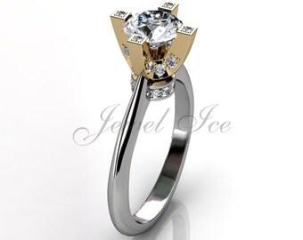 14k two tone white and yellow gold diamond engagement ring, bridal ring, wedding ring, anniversary ring ER-1026-4