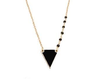 Black Triangle Necklace - Gold Filled Necklace - Asymmetrical Necklace - Black Obsidian Gemstone Necklace - Dainty Necklace - Wire Wrapped