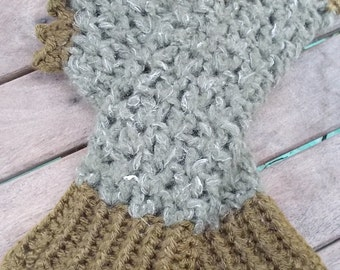 Crocheted fingerless mitts. khaki and olive green ON SALE