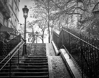Black And White Paris Photography, Montmartre Steps in Fog, Fine Art Print, Travel Photography