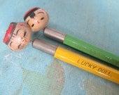 Vintage Sosaku Lucky Doll Nodder pencils Japan