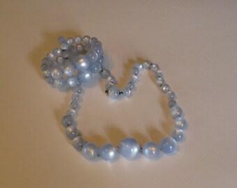 Vintage blue moonglow necklace and bracelet set.
