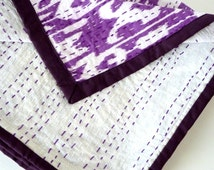 purple kantha quilt // purple bedcover // Purple Ikat Quilt // Kantha Throw Blanket