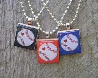 Baseball Heart Scrabble Tile Necklace