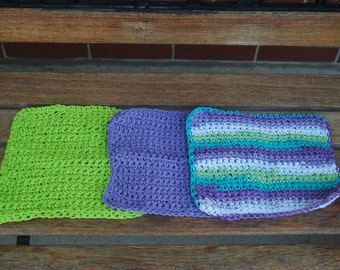 Three Crochet Cotton Dishcloth / Washcloth