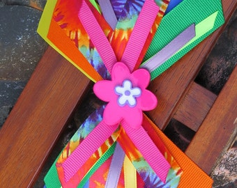 Stack tie dye hair bow