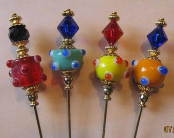 4 Diff Hatpins 3 inches long Glass LAMPWORK Beads Vintage, Lapel Style...We sell HAT stick pin blanks,make your own,findings supplies...S44