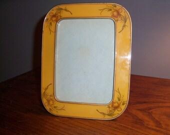 Vintage Yellow Orange Heavy Metal Picture Photo Frame