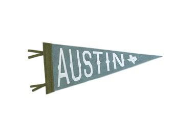 Austin Texas Souvenir Pennant - Vintage Inspired -  Town Lake Blue Moss Green