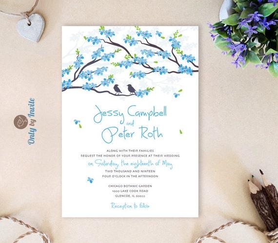 Blue Wedding Invitations Cheap Love Bird Wedding Invitations
