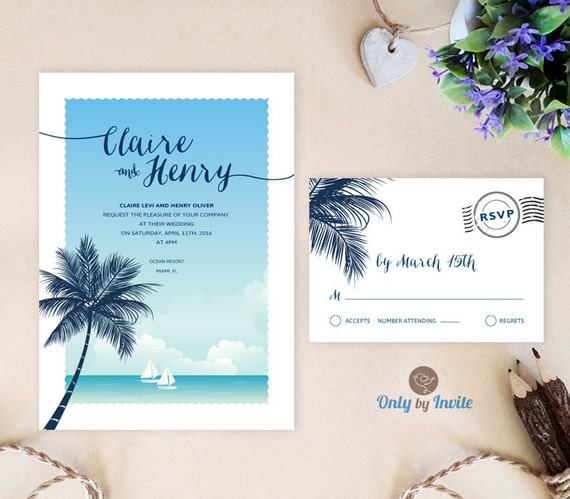 Beach Wedding Invitation Sets Printed On Premium By OnlybyInvite