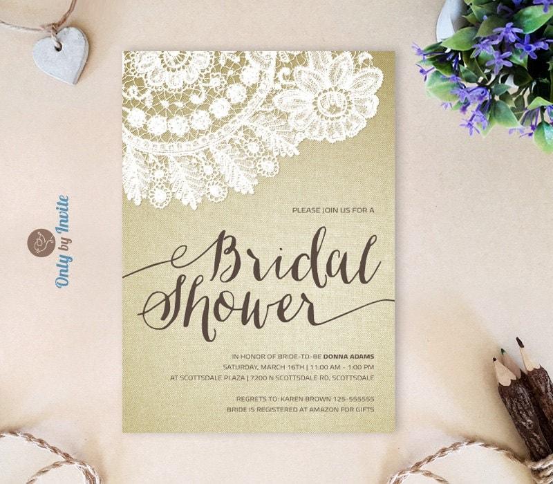 Printed Bridal Shower Invitation Cheap Rustic By OnlybyInvite
