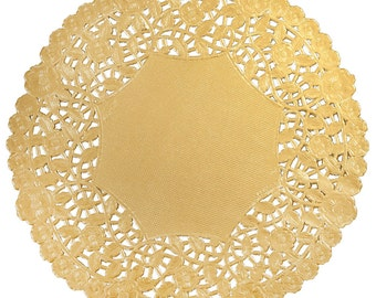 "50 - 10"" GOLD Metallic Foil PAPER Lace DOILIES 