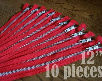 ykk metal zippers, metal zippers, red zippers, jean zippers, silver metal zipper, aluminium zipper - 12 inch - 10 pieces