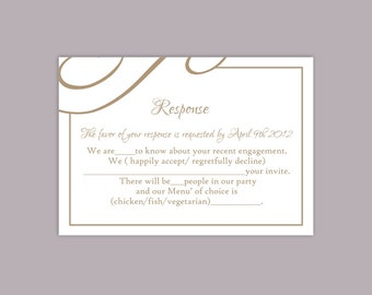 DIY Wedding RSVP Template Editable Text Word File Download Printable RSVP  Cards Brown Rsvp Card Template