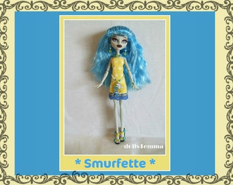 Monster H Doll Clothes - Cheery Dress - 80's Smurf Belt and Jewelry Set - Custom Handmade Fashion - by dolls4emma