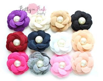 Layered Felt Flower with Pearl Center- Headband Supplies- Fabric Flowers- Supply Shop- DIY Headband Supplies- Felt Fabric Flower