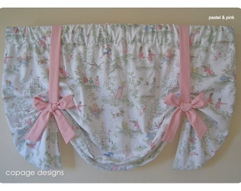 Over the Moon Toile Baby Nursery Tie-Up Window Valance / Colors Available: Pastel & Yellow / Custom Made Window Treatment
