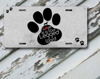 "License Plate Dog Paw Design on 6"" x 12""  Aluminum License Plate"