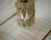 ON SALE - Jewelry Closeout Sale - Silver Wrapped Kite Earrings with Lime Green Accent - Handmade Silver Drop Earrings