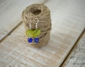 ON SALE - Jewelry Closeout Sale - Spring Green and Speckled Blue Beaded Earrings - Handmade Silver Drop Earrings