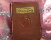 Vintage Book, World Atlas, School Book, Photographs, 1940 Census