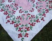 Amazing Vintage Tablecloth Cherry Cherries Hearts