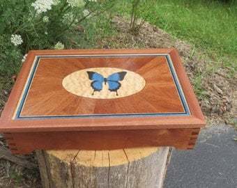 Butterfly Marquetry Jewelry Keepsake Box