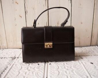 1950s brown leather handbag // made in Haiti // vintage purse