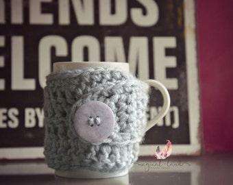 Crochet Mug Cozy Grey - Crochet Tea Cup Mug Sweater - Handmade Coffee Mug Warmer- Cup sleeve