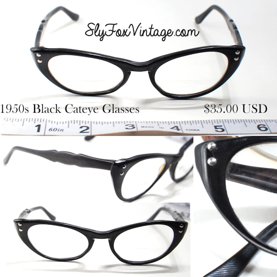 1950s mid century cat eye reading glasses by theslyfoxvintage