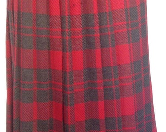 Vintage Gray and Red Plaid Pleated Skirt