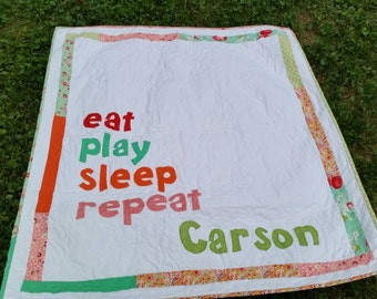 Eat Play Sleep Repeat Crib Quilt Gender Neutral Crib Quilt Chevron Crib Quilt Chevron Playmat Customizable Colors Baby Shower Gift Playmat