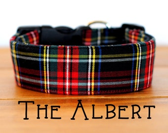 "Black Red Gold & Green Plaid Dog Collar ""The Albert"""