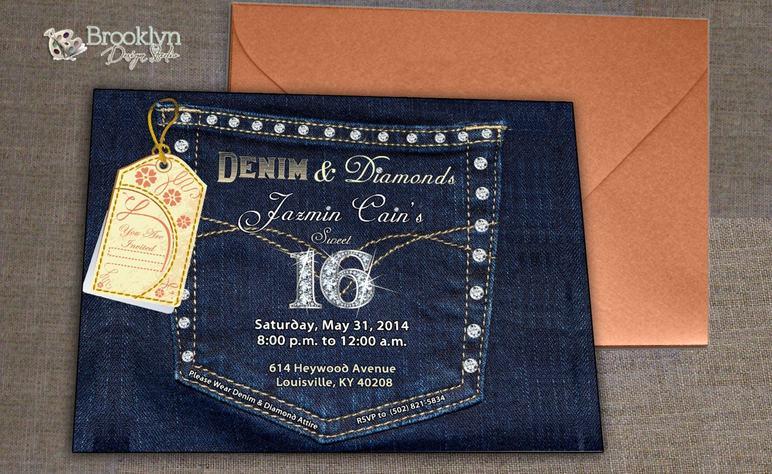 denim and diamonds denim pocket with bling by
