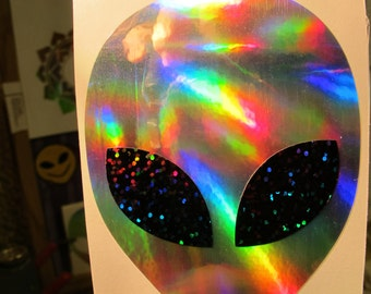 "Extraterrestrial Star Being Face Sticker.  Arcturian.  Prismatic Rainbow Silver/ Black Sparkle Eyes.  2.75"" x 3.77"" Size"