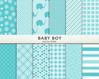 "Blue Digital Paper -  ""Baby Boy"" - Patterns - Commercial OK  - Printable Cardstock G5102"
